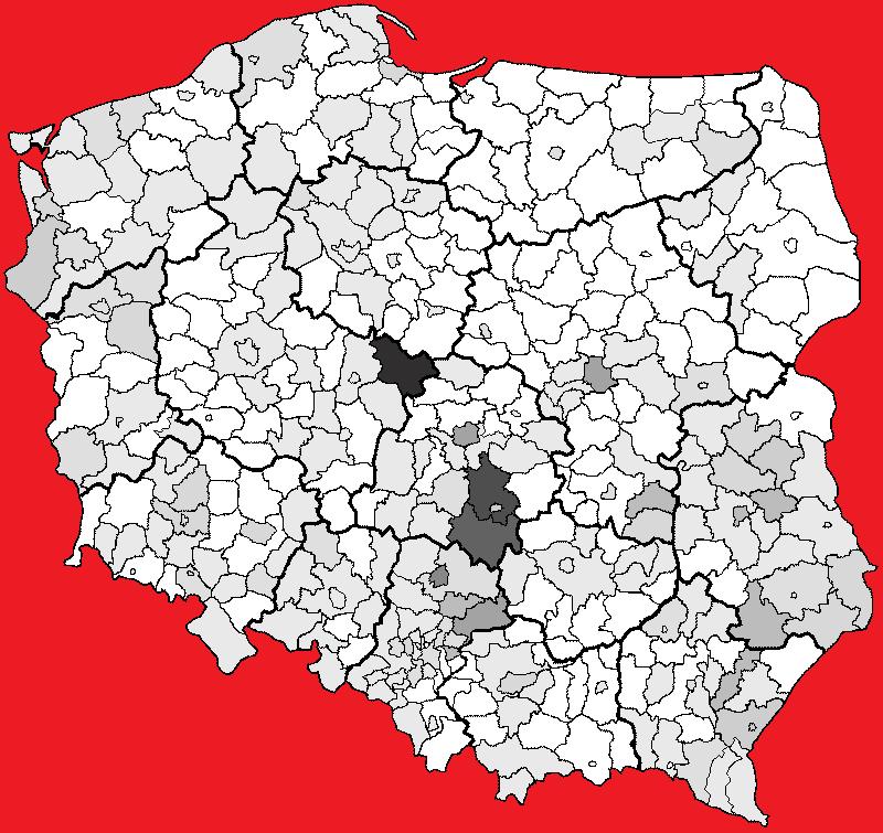 rozpowszechnienie nazwiska Baryła w Polsce w 2002 r.