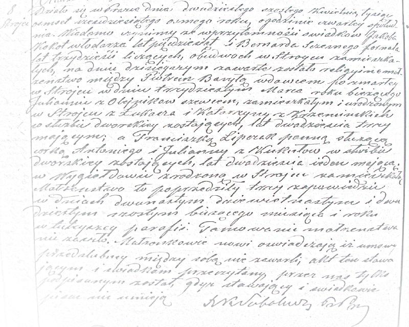 Akt małżeństwa Piotra Baryły i Franciszki z Lipczaków